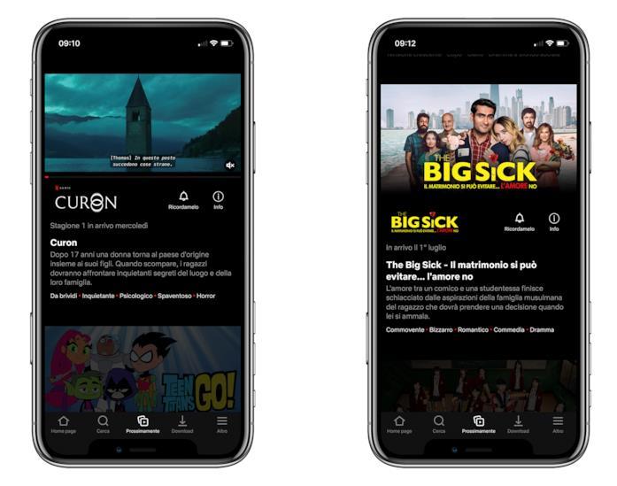 Screen della scheda 'Prossimamente' dell'app di Netflix per iOS