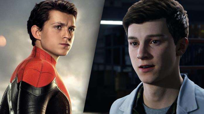 Peter Parker in Spider-Man: Far From Home (sinistra) e Peter Parker in Marvel's Spider-Man Remastered (destra)