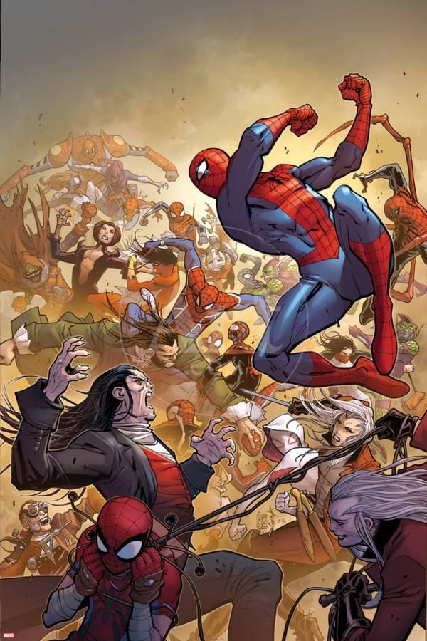 La copertina di Amazing Spider-Man 14 disegnata da Camuncoli e Smith