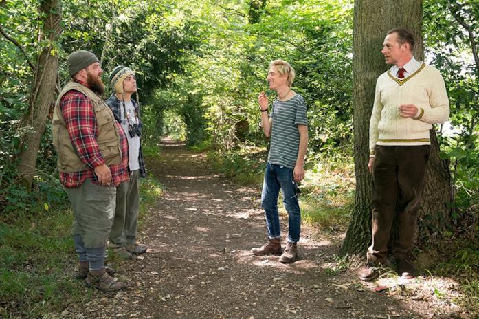 Nick Frost, Crispian Mills e Simon Pegg sul set di Slaughterhouse spacca