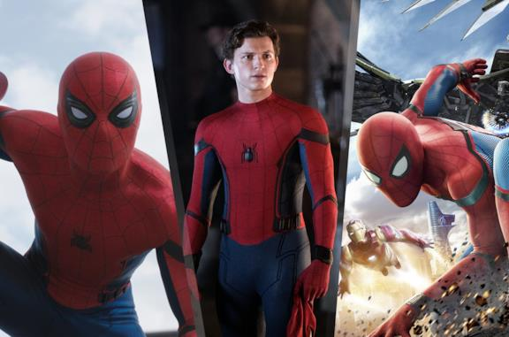 Da sinistra: Spider-Man in Civil War, Far From Home e Homecoming
