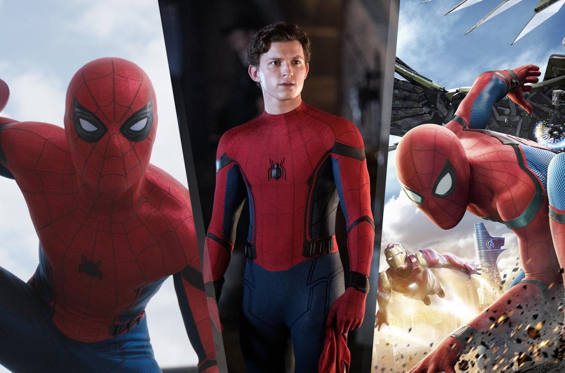 Da sinistra: Spider-Man in Civil War, Far From Home e Homecoming