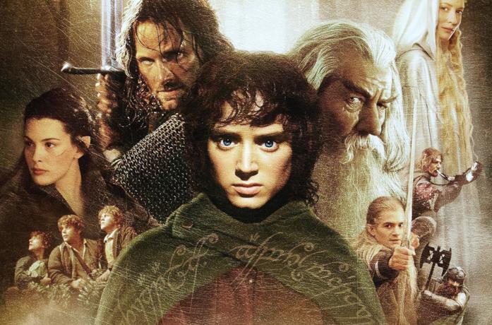 Un poster promozionale con i protagonisti dei film Il Signore degli Anelli
