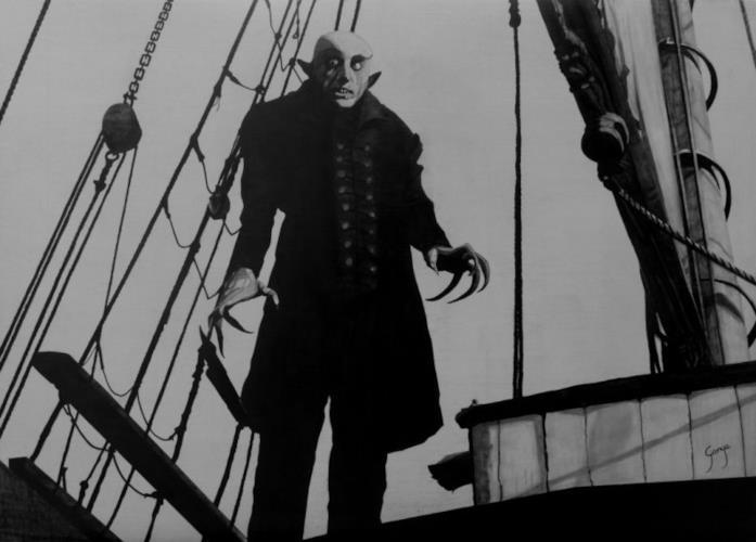 Un'immagine che ritrae a figura intera Max Schreck nei panni del Conte Orlok