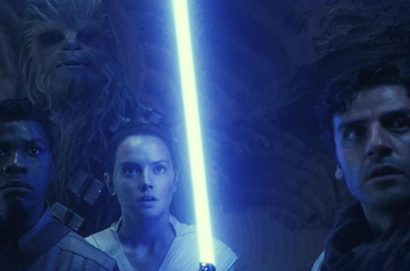 Chewbacca, Finn, Rey e Poe Dameron in Star Wars: L'ascesa di Skywalker