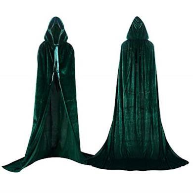 Proumhang Mantello con Cappuccio Lungo in Velluto Costume di Halloween Carnevale Natale Capo Masquerade Verde