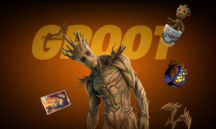 Immagine promozionale del costume di Groot in Fortnite