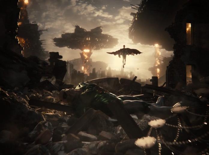 Il cadavere di Kilowog tra le rovine della maniero dei Wayne