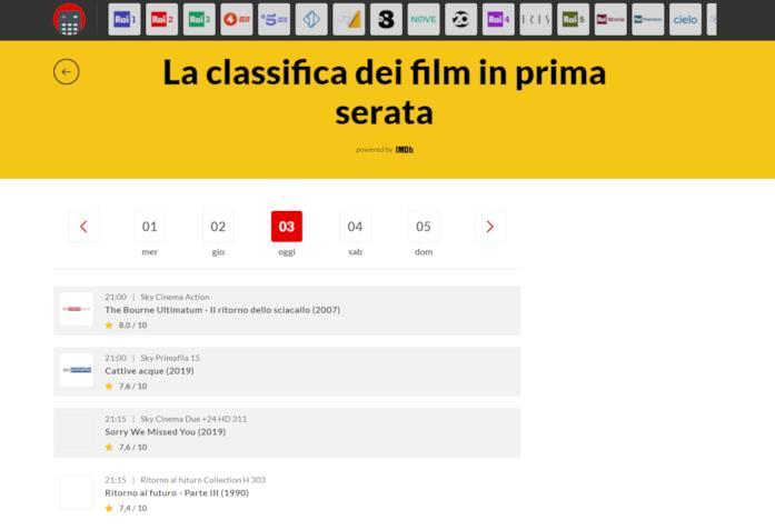 Screen della sezione 'I film da guardare stasera in TV' della Guida TV di NoSpoiler