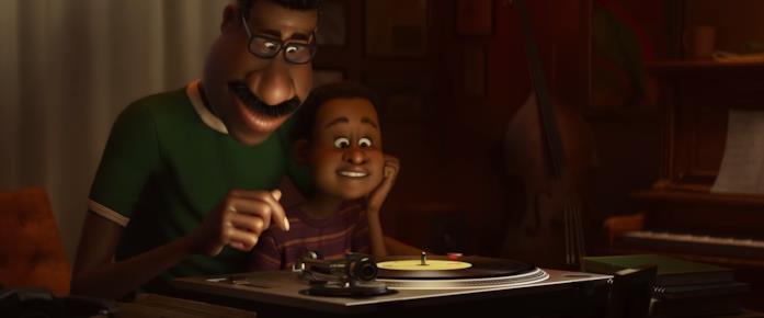 Padre e figlio in Soul, ascoltano musica
