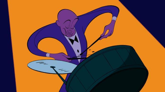Il protagonista della Rapsodia in Blu di Fantasia 2000 mentre suona la batteria