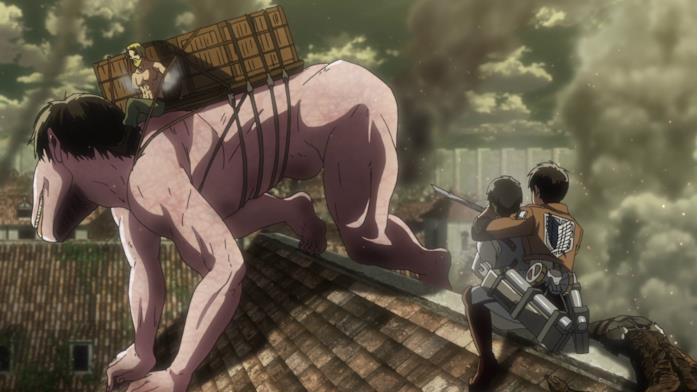 Zeke e il misterioso nuovo gigante a quattro zampe avvicinano Eren che tiene in ostaggio Berthold