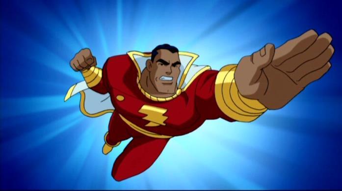 Capitan Marvel/Shazam in volo, in un fotogramma animato