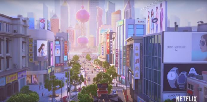 Shanghai in una scena di Wish Dragon