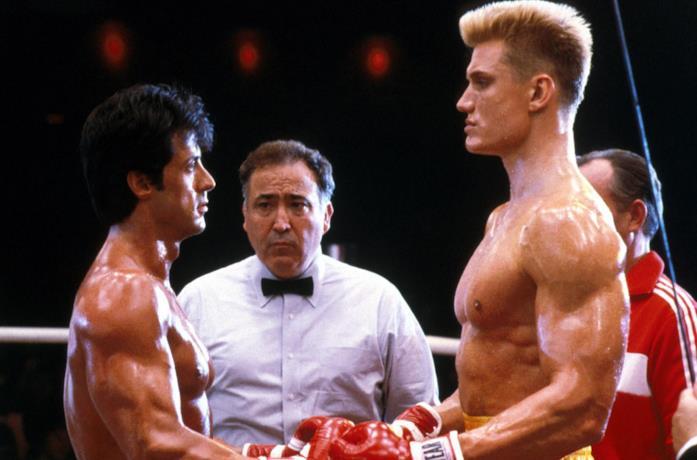 Un'immagine di Rocky e Ivan Drago in Rocky IV