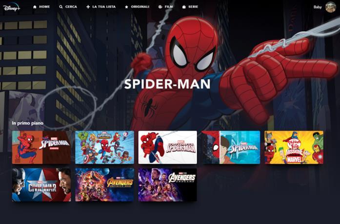 La sezione dedicata a Spider-Man su Disney+ Italia