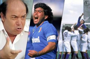 Da sinistra: Oronzo Canà (Lino Banfi), Maradona e Hatch (Sylvester Stallone)