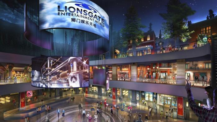 Il rendering dell'atrio del Lionsgate Entertainment World