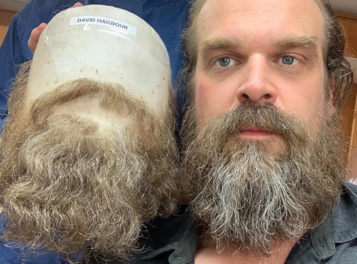 David Harbour con baffi e barba finti