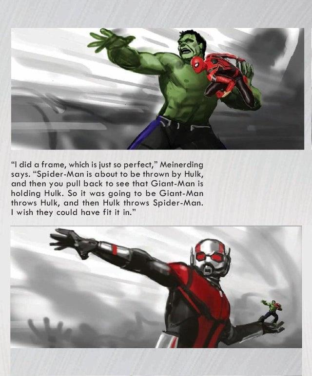 La concept art di Avengers: Endgame con Hulk, Spidey e Giant-Man
