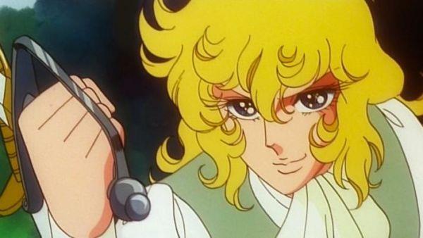 Lady Oscar impugna la sua spada in una scena della serie anime