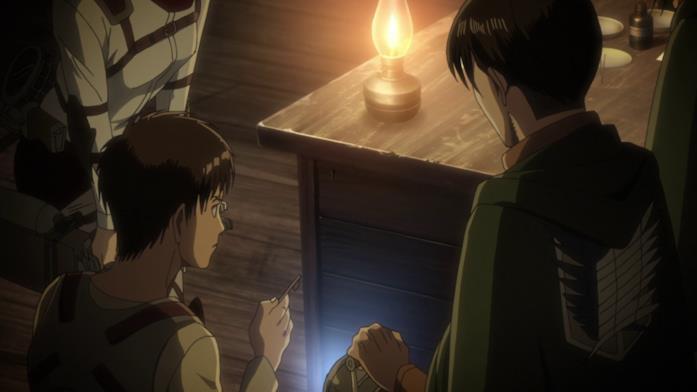 Eren si prepara ad aprire il comparto segreto della scrivania del padre