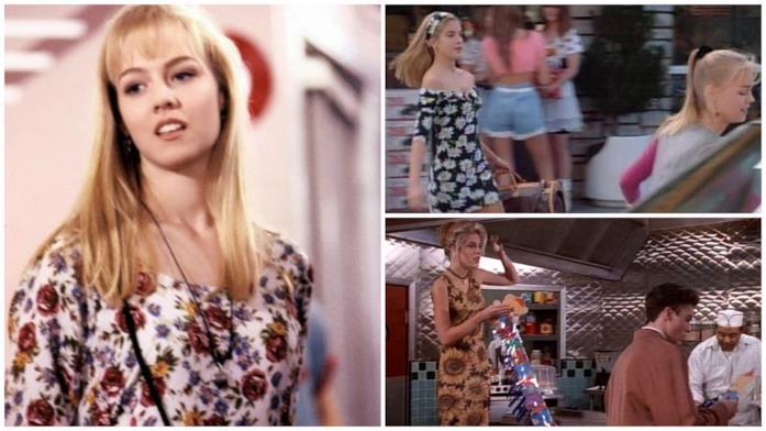 Kelly con un abito a fiori e Donna con degli abiti con girasoli in Beverly Hills 90210