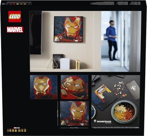 Il retro del box di Iron Man LEGO Art
