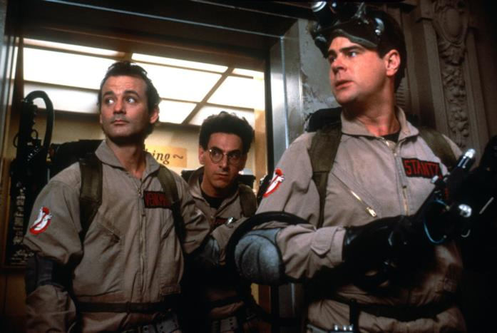 Bill Murray, Harold Ramis e Dan Aykroyd in una scena di Ghostbusters