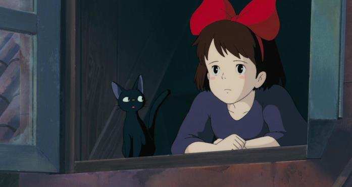 Kiki e Jiji dalla finestra di casa di Osono