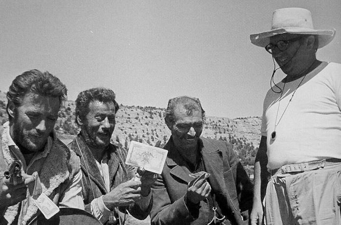 Sergio Leone col cast de Il buono, il brutto, il cattivo