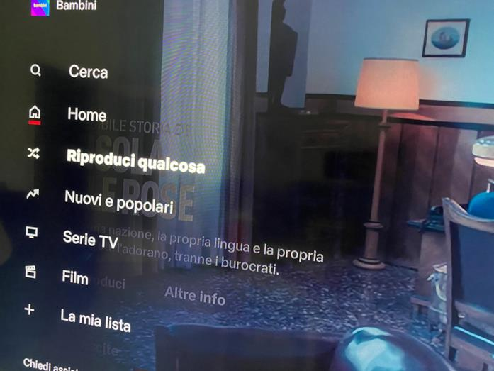 Il menu a comparsa del client di Netflix per Smart TV
