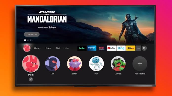Schermata dei profili della nuova UI dei dispositivi Fire TV di Amazon
