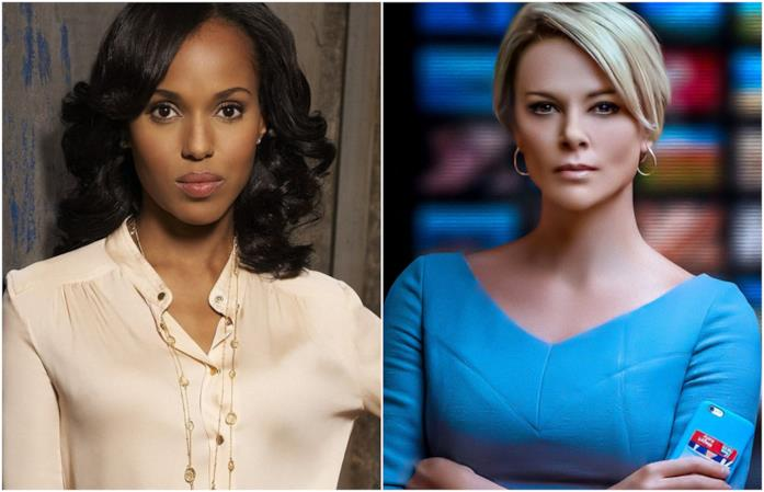 Primi piani di Kerry Washington e Charlize Theron in Scandal e Bombshell