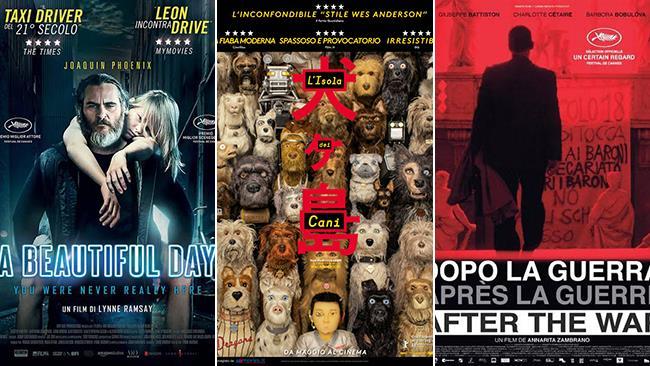 I poster dei film A Beautiful Day, L'Isola dei cani, Dopo la guerra