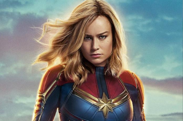 Un primo piano di Brie Larson come Captain Marvel
