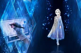 Elsa tra bozzetto e risultato finale nel poster della serie