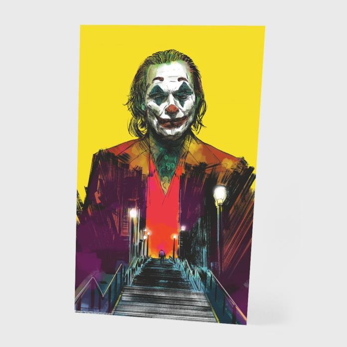 Joaquin Phoenix disegnato nel poster di Joker