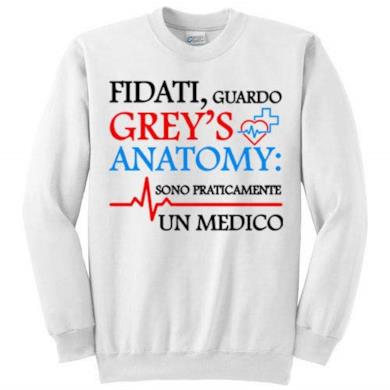 Felpa bianca Grey's Anatomy inspired