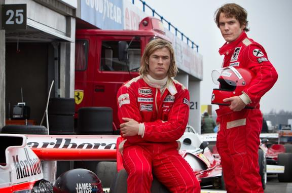 Chris Hemsworth e Daniel Brühl sono James Hunt e Niki Lauda in Rush