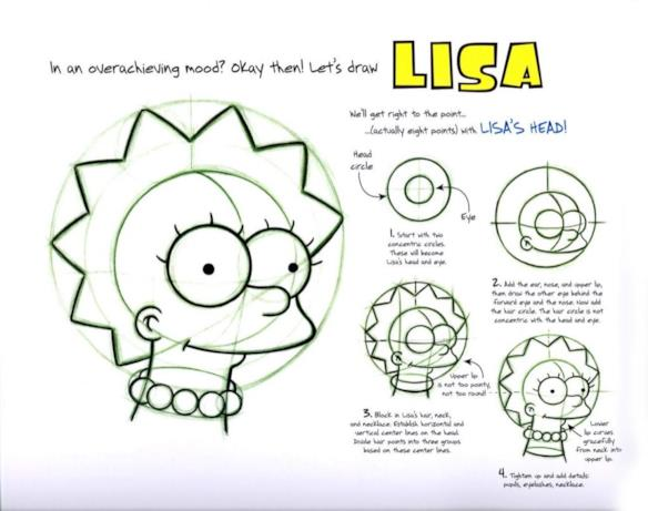 Lisa in formato digitale nel tutorial per disegnare i Simpson