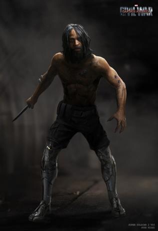 Capelli lunghi e un coltello in mano con due gambe bioniche