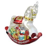 Cavallo a dondolo, decorazione pendente classica per albero di Natale in stile vintage