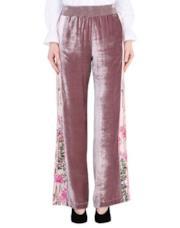 Pantaloni palazzo in velluto con banda laterale a fiori