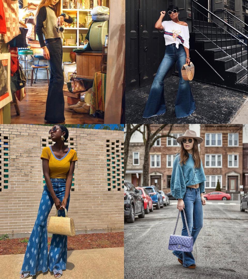 Outfit con jeans a zampa d'elefante