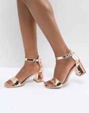 Sandali oro rosa effetto nudo con tacco largo medio