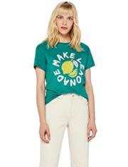 T-Shirt verde con stampa e paillettes