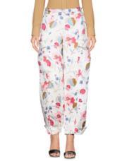 Pantaloni palazzo color avorio a fiori stilizzati