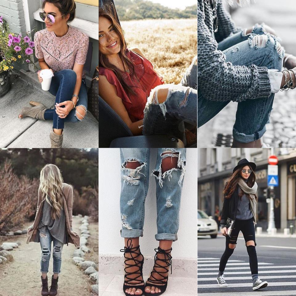 Outfit hippie chic con i jeans strappati