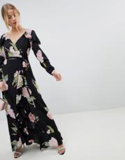 Vestito lungo a portafoglio con fiori